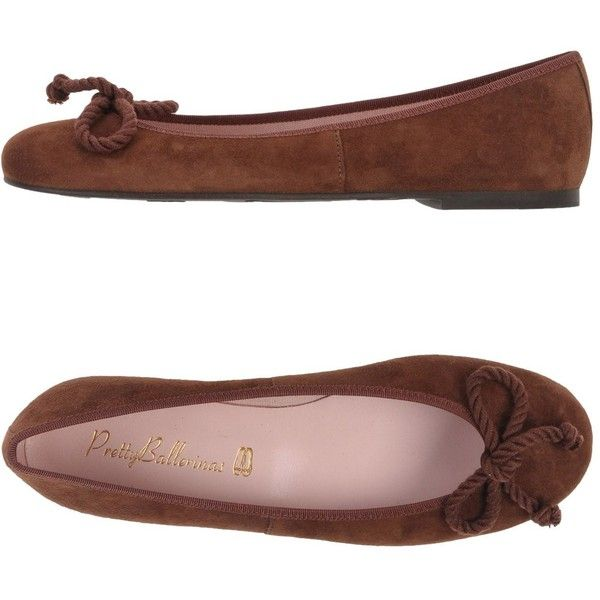 Pretty Ballerinas Ballet Flats (980 SEK) ❤ liked on Polyvore featuring shoes, flats, brown, ballet shoes, brown leather flats, flat shoes, bow ballet flats and ballet pumps