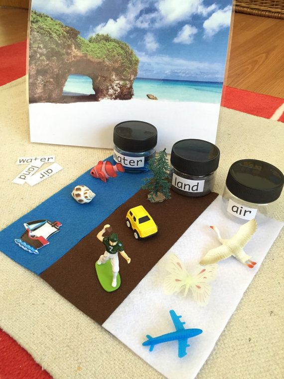 Hand Crafted Montessori Science Activity Land, Water and Air