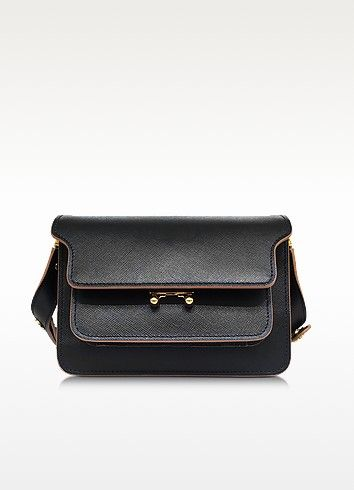€1440.00   Black Saffiano Leather Medium Trunk Bag crafted in scratch resistant saffiano leather with contrast piping detail, is the must-have of the season with the iconic bellows construction and minimalist appeal. Featuring gusseted sides that fan out creating five compartments, including two zipped sections, a front pocket and a lockable front flap closure. Gold tone hardware detail. Special feature is the three way adjustable strap with metal studs with extension strip that allows you…