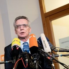 German Interior Minister Thomas de Maiziere at the Army and Police joint terror defense exercise