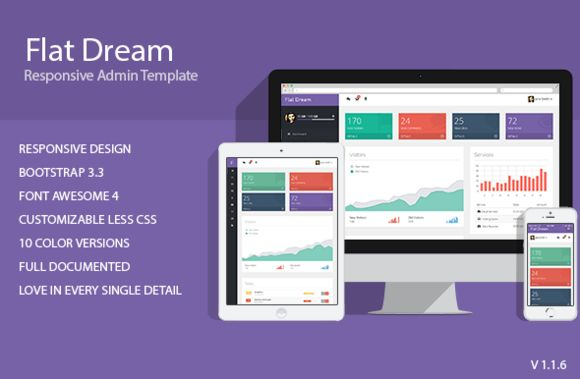 Flat Dream - Responsive Admin Templa by condorthemes on Creative Market