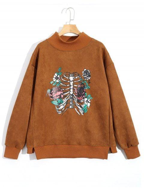 Skeleton High Neck Suede Sweatshirt - BROWN M