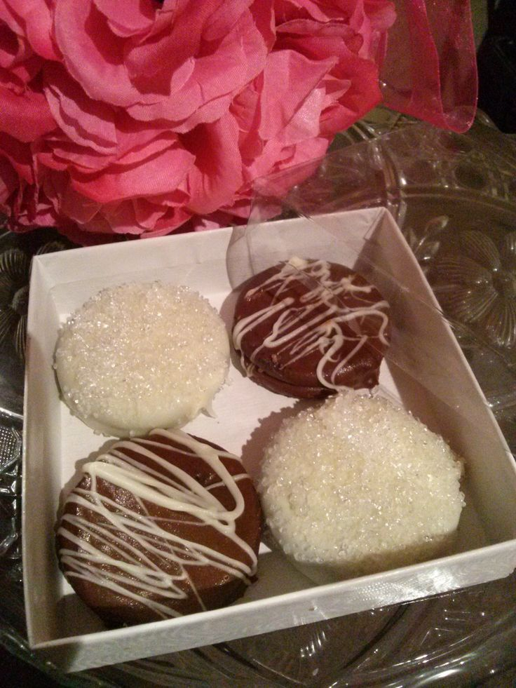 Tasty treat that everyone is sure to enjoy  Oreo cookies covered in chocolate perfect wedding favor.