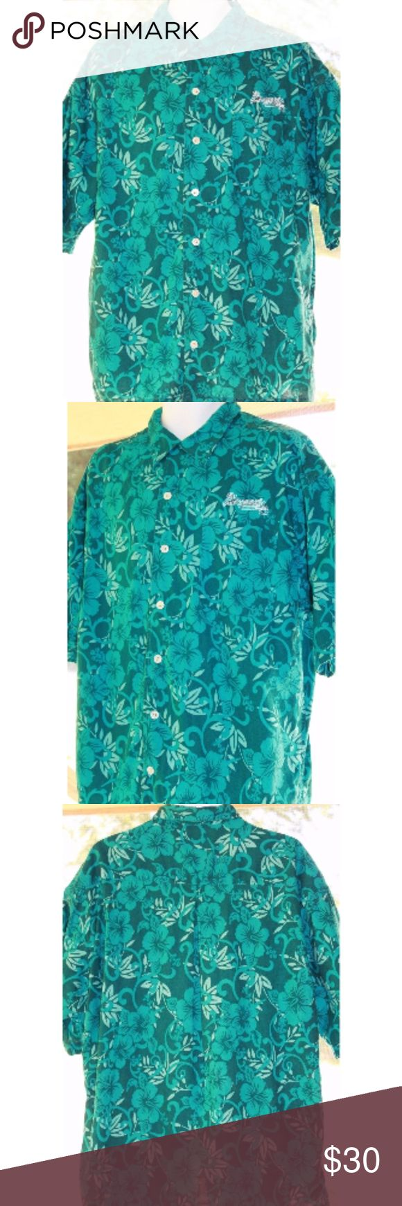 """Vintage Lee Sport Atlanta Braves Hawaiian Shirt XL Lee Sport Atlanta Braves MLB Hawaiian Shirt Baseball Blue Size XL   This top is in excellent, used condition. No holes, stains, tears or smelly things!  :)  Measurements are taken while the top is laying flat:  PIT to PIT:  25""""  Length: 31""""     Non-Smoking Home  Non-Pet Home  Please message me with any questions Lee Sport Shirts Casual Button Down Shirts"""