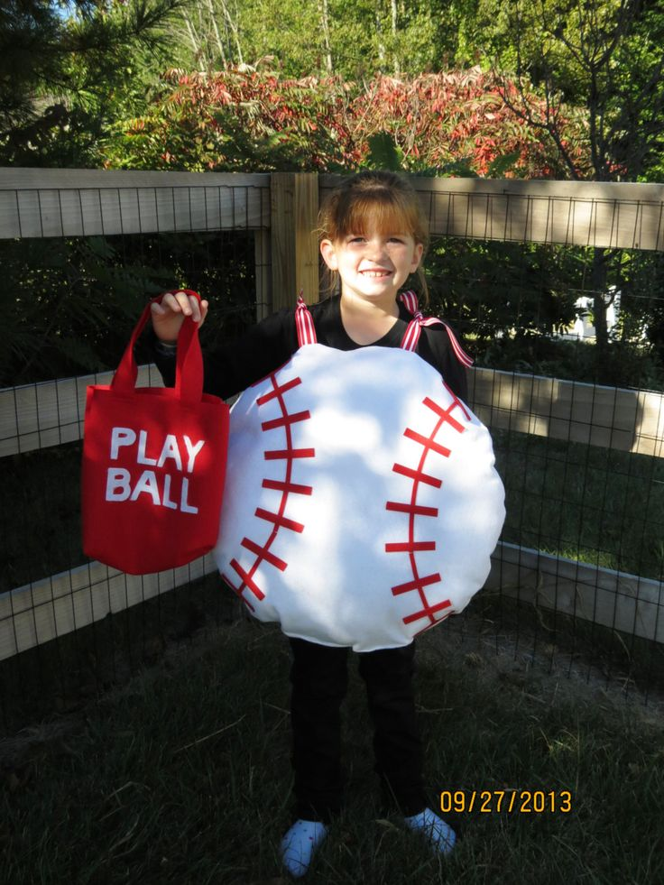 "Handmade Fun Baseball ""Ball"" Halloween Costume W/ Trick-or-Treat bag. Chose from toddler, kids or adult. by memoriesmadebyrose on Etsy"