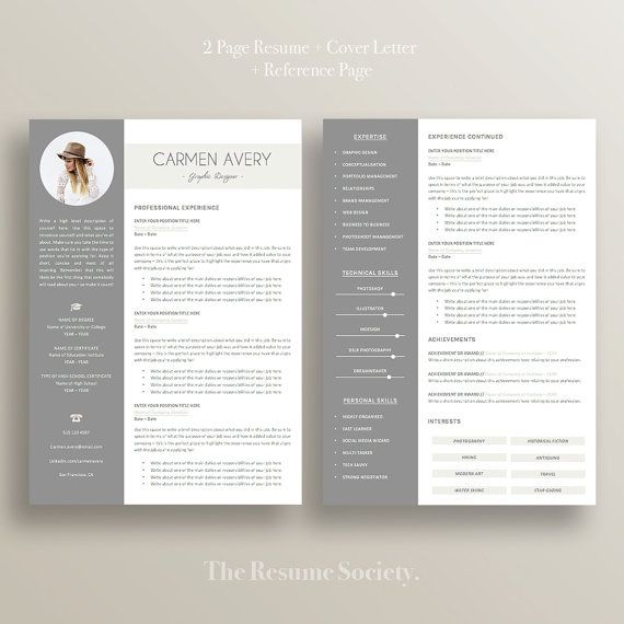 resume template - 4 pages - cv - cover letter