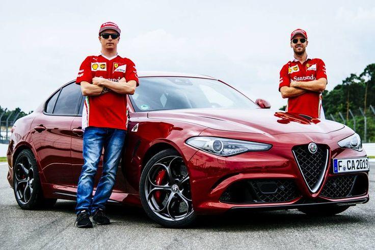 Sebastian Vettel & Kimi Raikkonen with a red Alfa Romeo Giulia Quadrifoglio, at Hockenheim this weekend