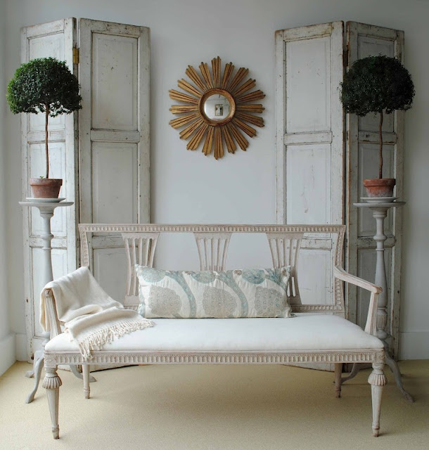 so my style- I love this sette and the shutters behind as a background