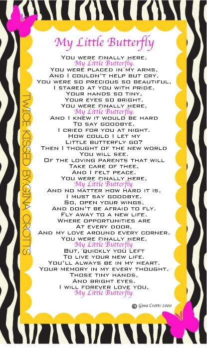 My Little Butterfly poem by Gina Crotts 8x10 print by TwiceKissed, $8.00