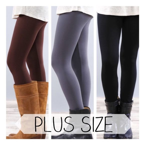 • Plus Size Fleece Leggings • Plus sizeSolid color fleece leggings. Super soft and very stretchy! Looks like a regular sleek legging on the outside, but inside is warm fleece for those cold days. Great with tunics and long sweaters. Size XL, XXL, XXX  Your choice of colors: BROWN, GREY, BLACK 65% polyester, 20% cotton, 15% spandex.   •no trades •10% off all bundles  PLEASE DO NOT purchase this listing. Comment your size & color below and I'll make a listing for you. Jennifer's Chic Boutique…