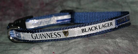 Adjustable Cat or Toy Dog Collar from Recycled Guinness Black Lager beer labels