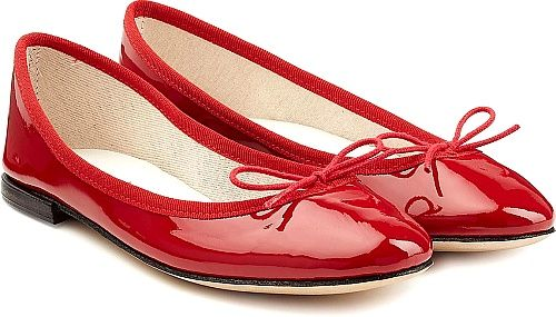Repetto Shoes - Whether it's for a day off or the office, ballet flats never disappoint. Crafted in sweet cherry red patent leather, the classic silhouette is polished with the same colored piping and bow detail. - #repettoshoes #redshoes