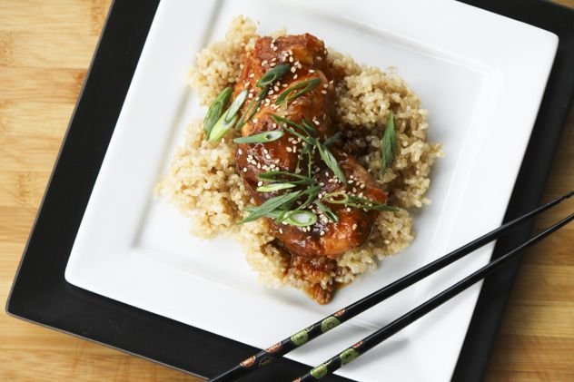 Slow Cooker Honey Sesame Chicken-chicken cooks in about 4 hours...thicken sauce and serve over cooked rice. Does it get any easier?