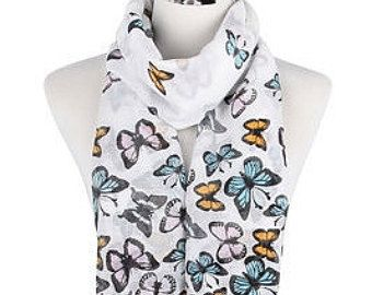 Butterfly White Scarf / Spring Summer Scarf / Autumn Scarf / Gift for her / Womens Scarves / Fashion Accessories