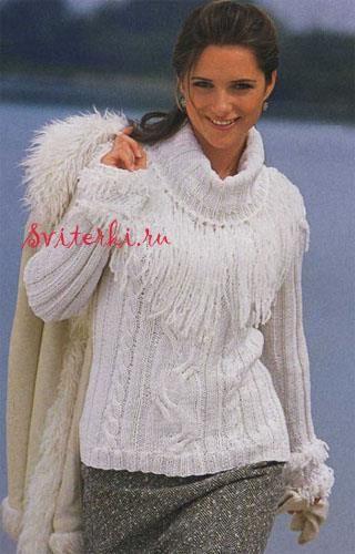 Свитер пуловер вязание белый