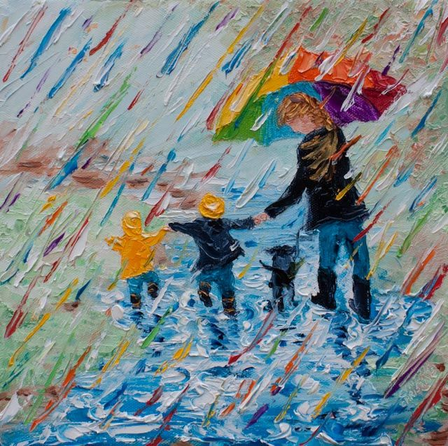 """One of my favorite things . . . splashing in puddles under my big rainbow umbrella with my grandkids! This is one of several versions of """"puddle jumping"""" I have listed. Family memories provide me with a treasure trove of inspirational ideas to paint. Palette Knife Painting; Colors of Cynthia Christine."""