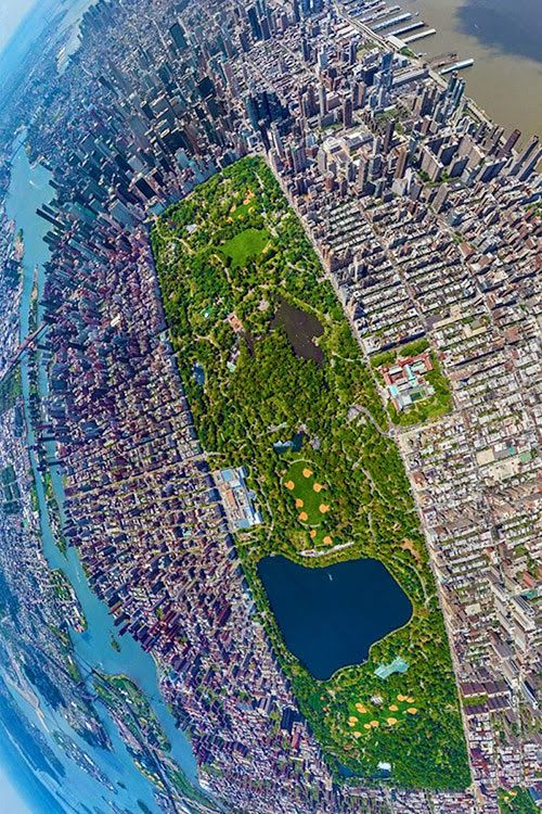 Drone view of Central Park Manhattan, New York City #NYC