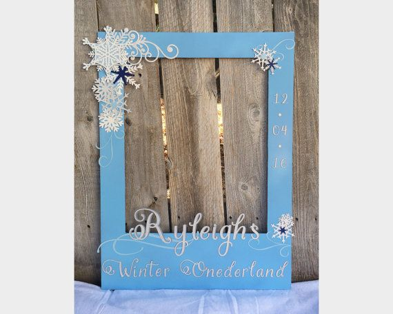 giant photo prop frame for first birthday, winter onederland blue, with glitter silver and white snowflakes - color options available