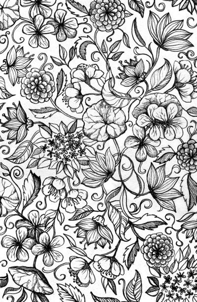 Hand drawn pencil floral pattern in black and white Art Print