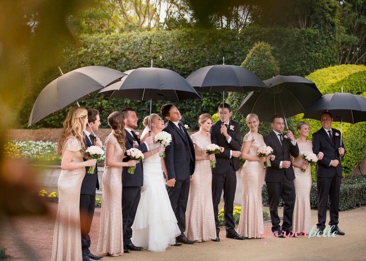 Harper Belle Photography | Hunter Valley Garden Wedding | Bridal Party | Umbrellas