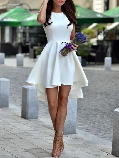 Perfect short sexy white dress. Sleeveless asymmetric hem flare dress. Belt :NO Fabric :Fabric has some stretch Season :Summer Type :Skater Pattern Type :Plain Sleeve Length :Sleeveless Color :White D