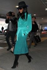 Splurge: Naomi Campbell's LAX Airport Burberry Prorsum Green Ombré Double Breasted Suede Trench Coat