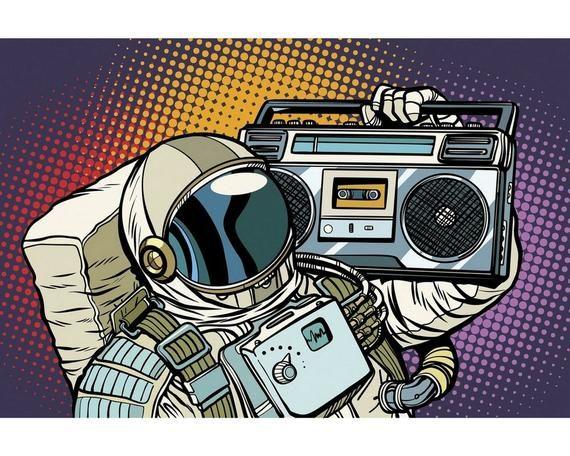 Retro Pop Art Astronaut With Boombox Metal Wall Art Print Etsy In 2021 Boombox Art Retro Vector Illustration Pop Art