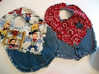 Recycle Old Jeans into Bibs!!!  @ http://treasuresrenewed.blogspot.com/2011/03/western-blue-jean-baby-bib.html