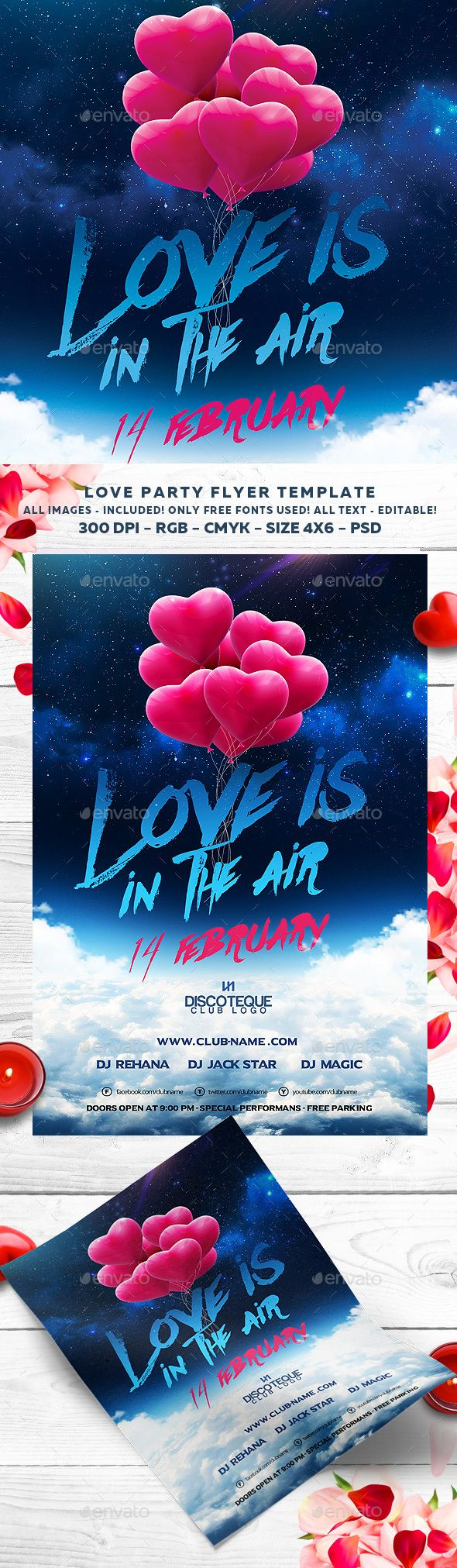 Valentines Day Flyer Template PSD #design Download: http://graphicriver.net/item/valentines-day-flyer/14485919?ref=ksioks