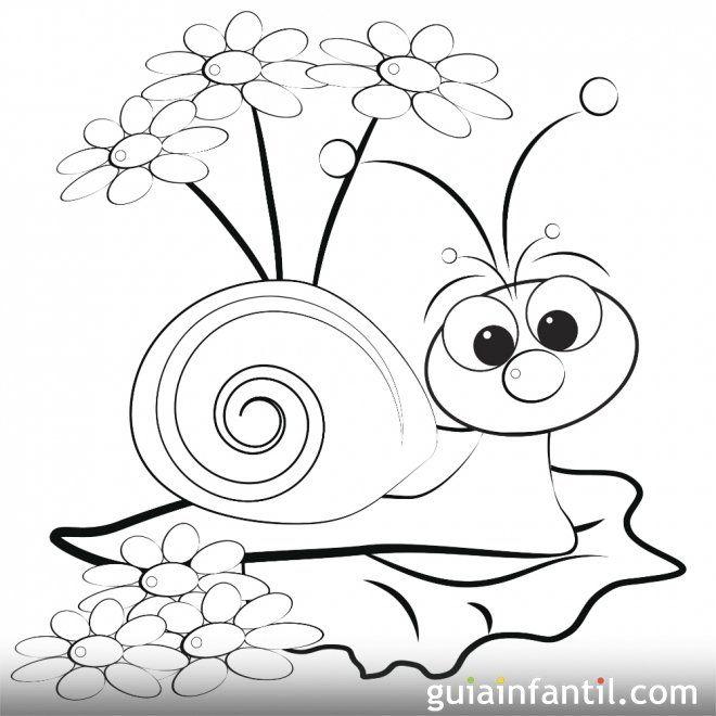 Dibujo De Un Caracol En Primavera Para Colorear Caracoles Dibujo Arte De Caracol Dibujos