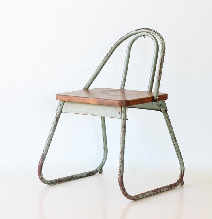 Vintage School Chair Child Size Green School Chair by bellalulu