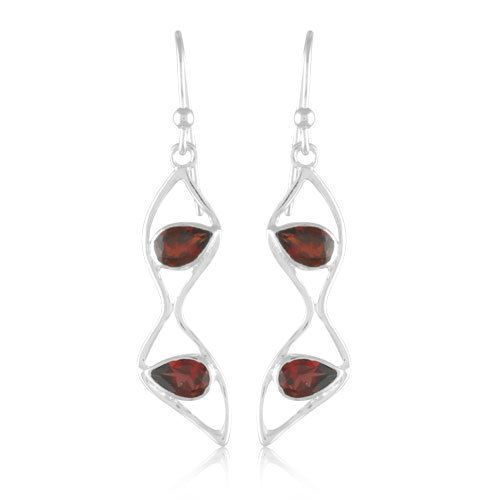 A Unique Red Garnet Gemstone Jewelry Solid 925 Sterling Silver Earing #Rinnga