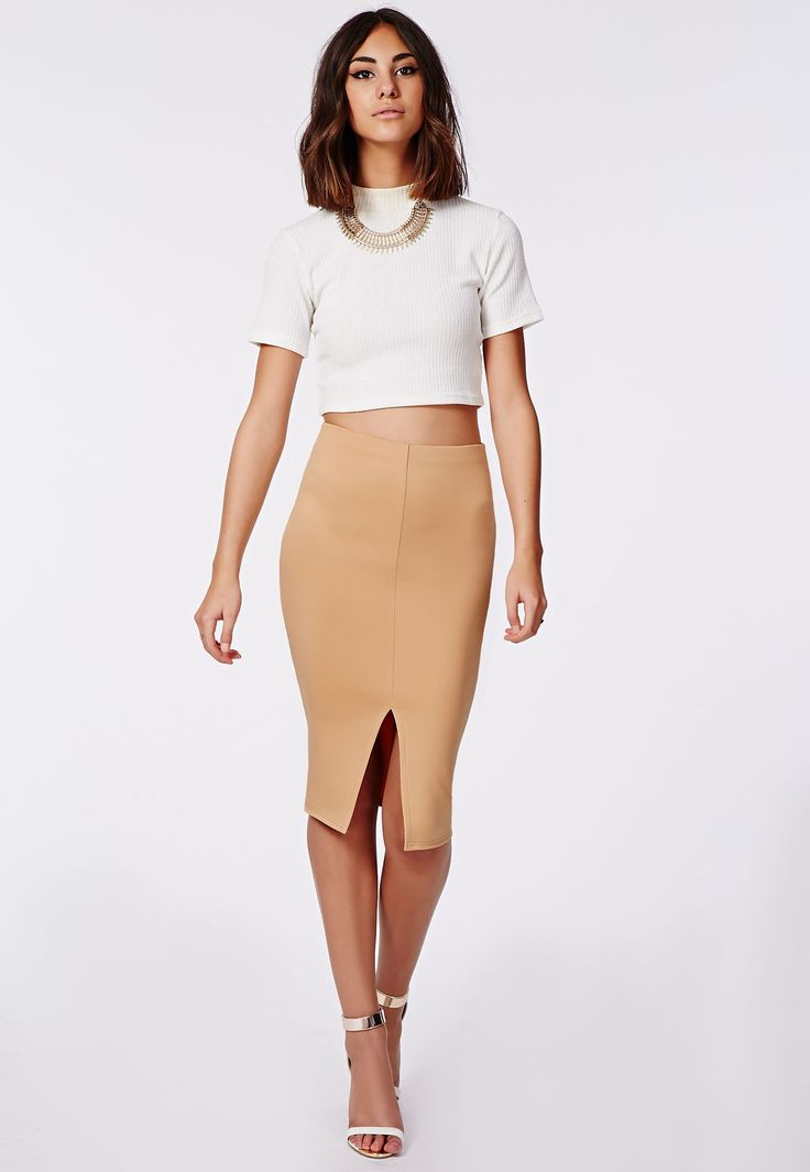 Kabrie Front Split Midi Skirt Camel - Skirts - Missguided