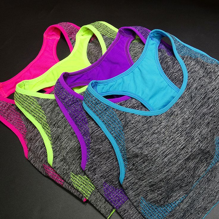 AZAOE 4 Colors Female Fitness Yoga Sports Bra Padded Wire Free Shakeproof Seamless Athletic Running Yoga Gym Vest Sports Tops