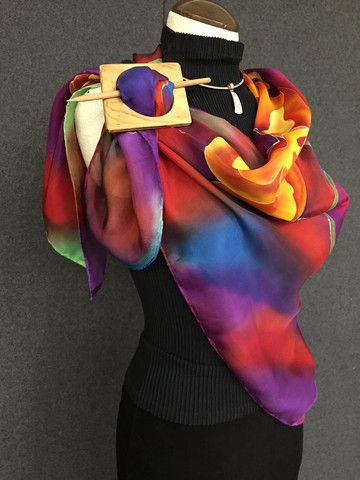 Brilliant Red - Hand Painted Silk Scarf / Wrap
