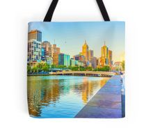 Oil on Canvas - Melbourne Skyline Yarra Reflections Tote Bag