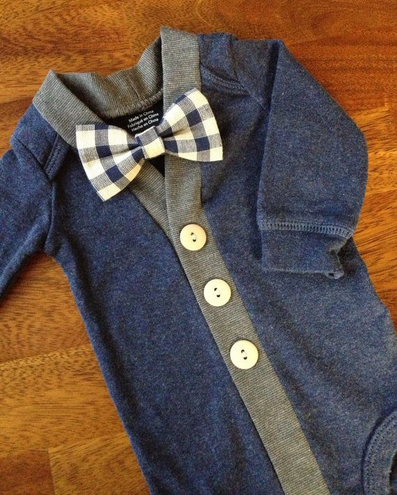 Baby Cardigan One Piece Bow Tie Set, Navy Infant Cardigan with Clip on Bow Tie, Cardigan Bodysuit on Etsy, $34.00