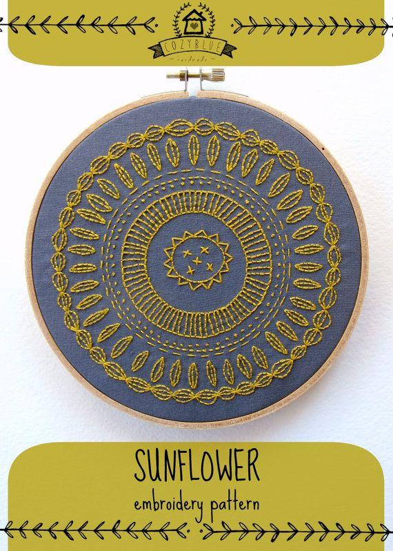 GIRASOL - pdf patron para bordar, bordado a mano moderno, mandala flor, arte del aro del bordado, diseño de la flor dorada, de cozyblue en etsy