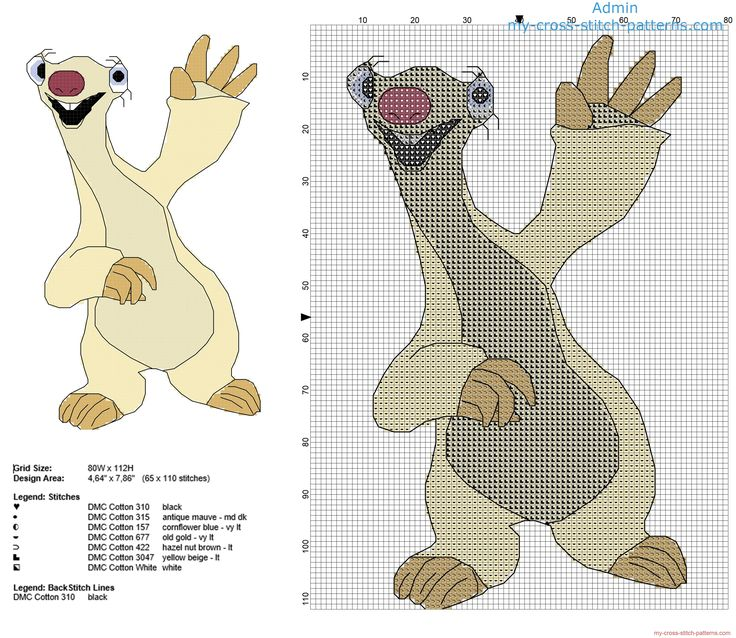 Sid ground sloth Ice Age cartoon movie character free cross stitch pattern
