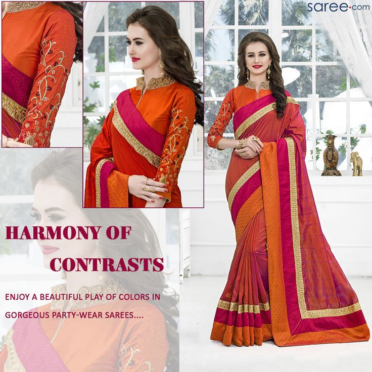 Drape yourself in magic! Sarees with half and half designing or broad borders in contrasting hues – adorned with delicate embroideries or woven textures. Available in a rich palette of summer as well as vibrant Indian colors, these lovely sarees are all you need to make a majestic style statement.