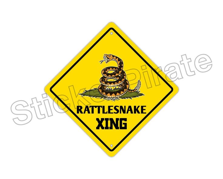 "Aluminum Rattlesnake Crossing Funny Metal Novelty Sign 12""X12"""