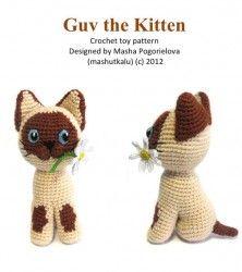 Jefe del gatito - patrón de juguete ganchillo pdf - gato siamés amigurumi patrón mashutkalu                                                                                                                                                      Más