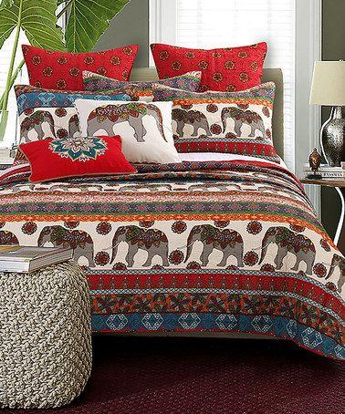 Kandula Desert Bonus Quilt Set by Barefoot Bungalow - Exotic patterns and a  parade of elephants grace the front of the Kandula Desert Bonus Quilt Set  by ...