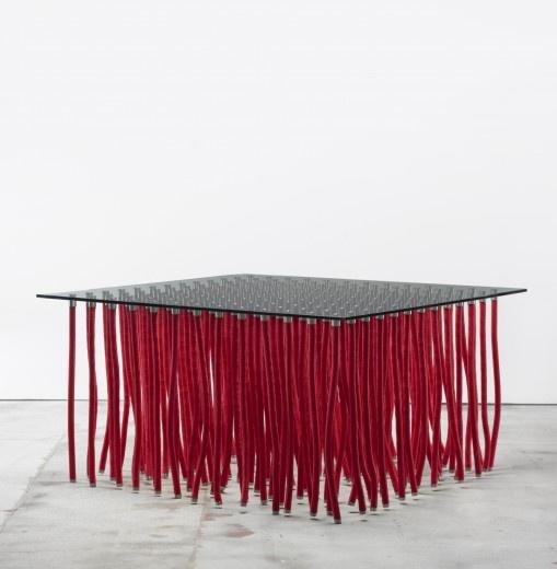 Ordinaire FABIO NOVEMBRE Org Table Cappellini Italy, 2001 Nylon, Glass, Stainless  Steel 55 W X