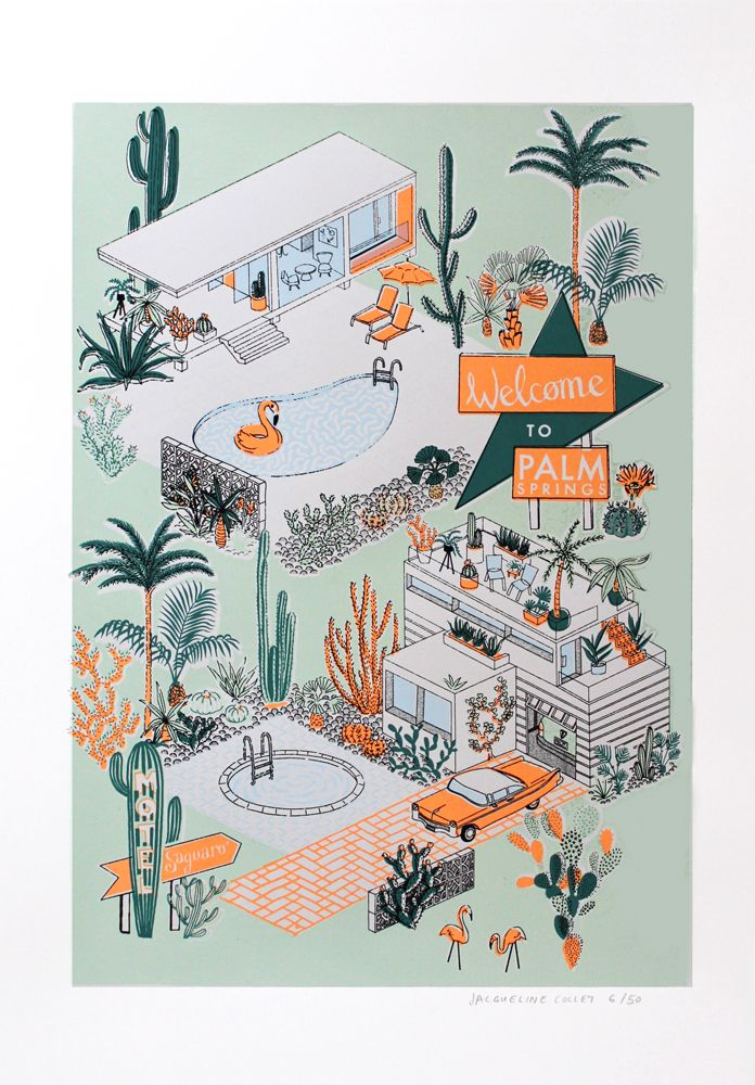 Brand new print edition from artist Jacqueline Colley 'Welcome to Palm Springs' Available from Print Club London's site now and only £80 shop now!