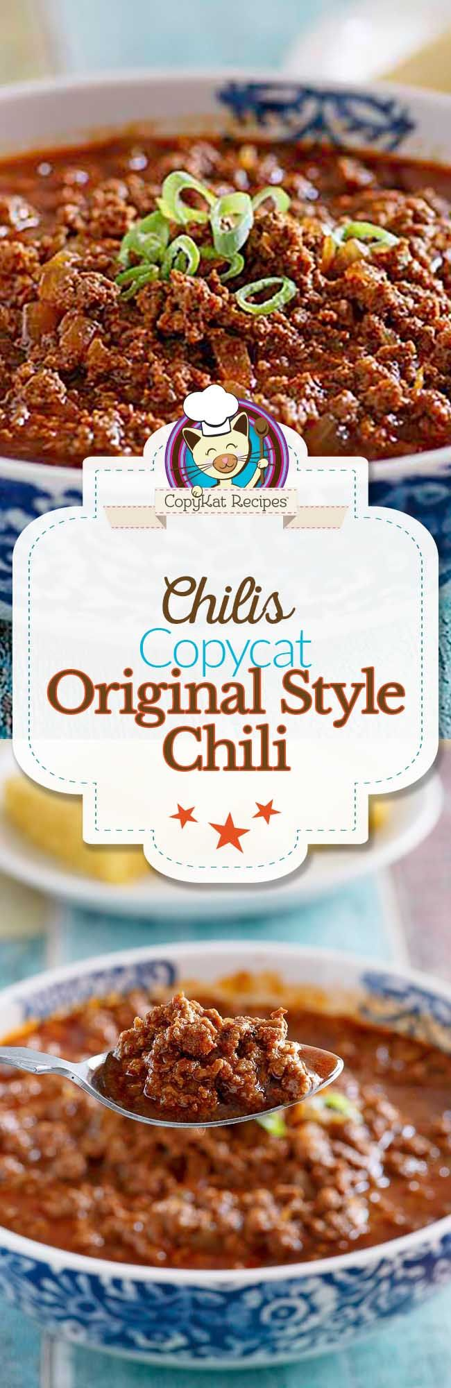 Enjoy chilis original style chili at home with this easy copycat recipe.