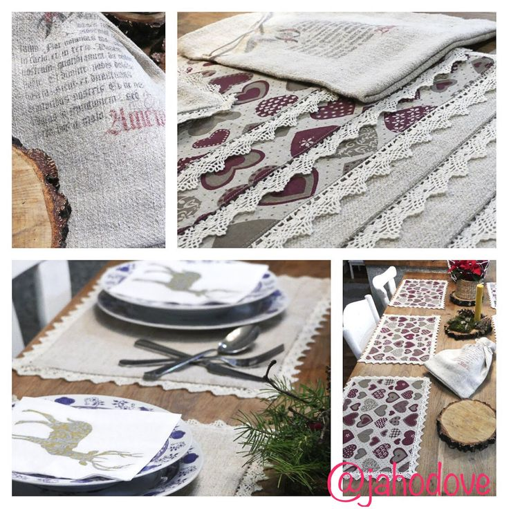 Natural handmade linen table clothing with hearts and lace with bread bag