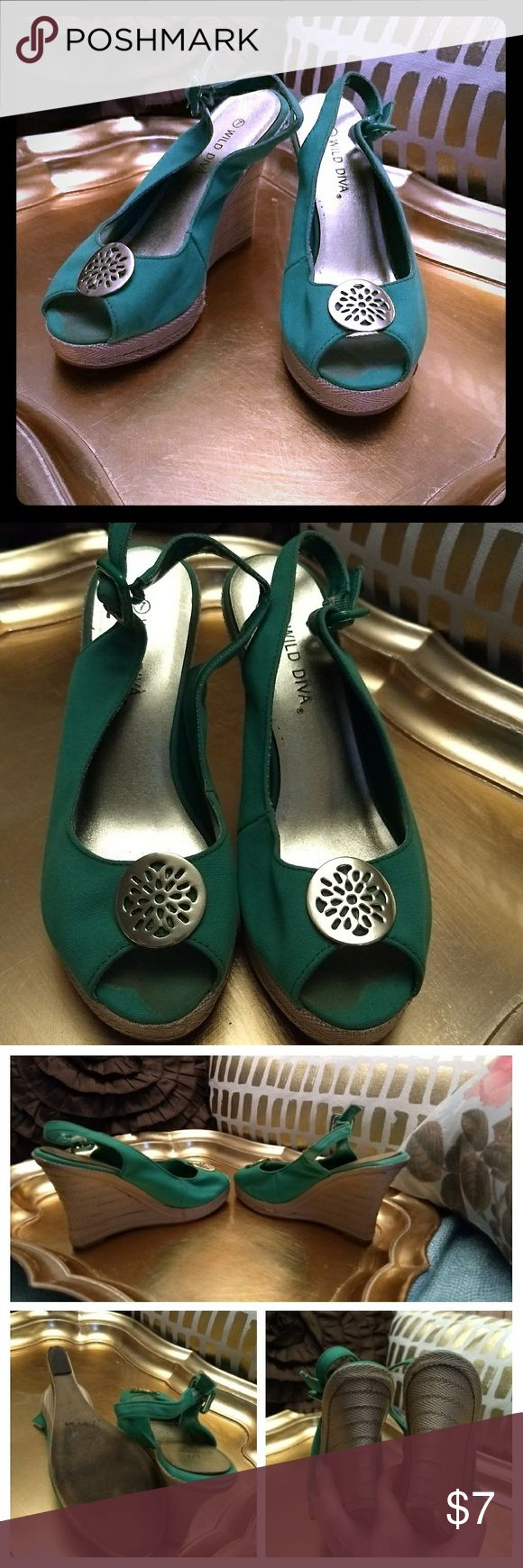 Kelly green wedge sandals guc 7 Well loved green wedges, please see pics! Still life left in these girls. Thanks for looking and have a fabulous day! :) Wild Diva Shoes Platforms