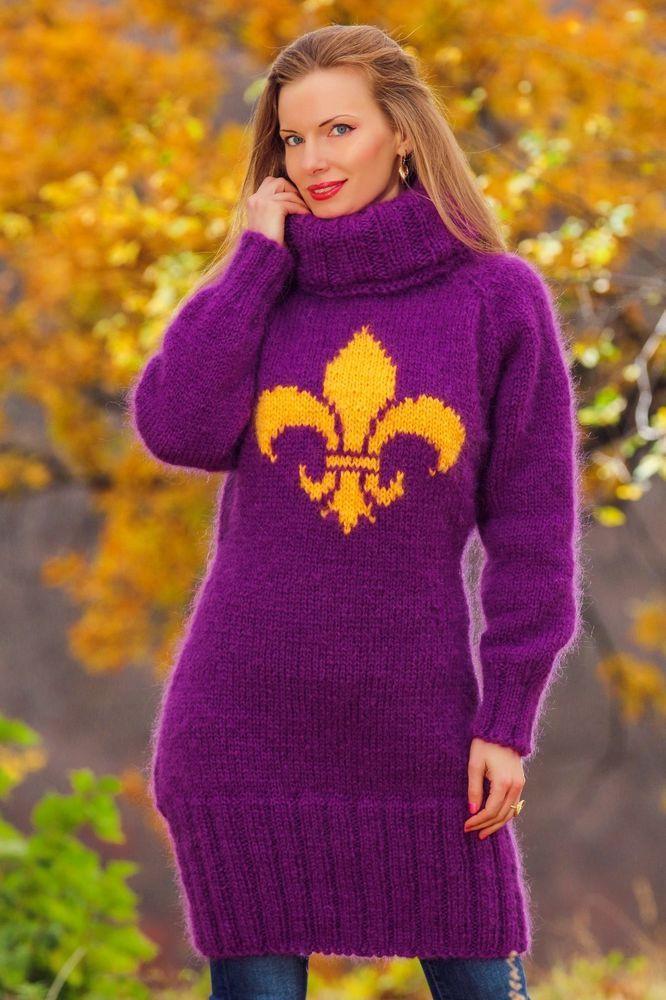 3498ed55241 Fleur Di Lis mohair dress fuzzy unique hand knitted designer sweater  SUPERTANYA  SuperTanya  TurtleneckMock