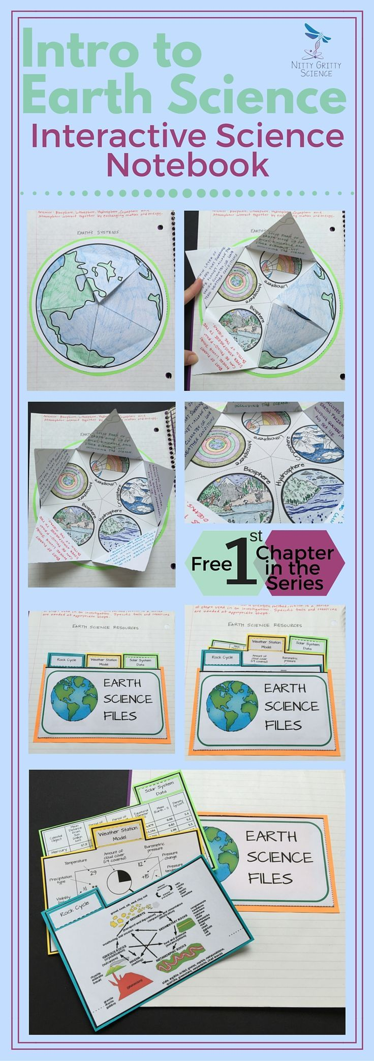 Start the school year off right with this FREE first chapter of The Earth Science Interactive Notebook series: Intro to Earth Science. The concepts in this chapter will introduce some key vocabulary and enable students to start understanding the different systems of Earth and all the branches of science that Earth Science entails. Each chapter in the series will showcase many activities for the students (both middle and high school) to process the information given by teachers.